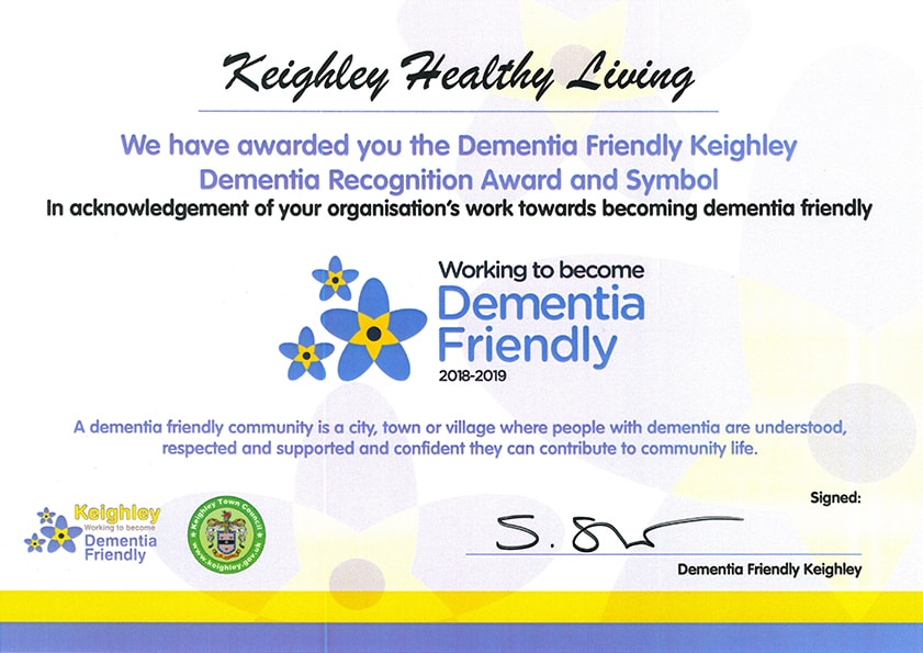 Keighley-Healthy-Living-Dementia Friendly Award