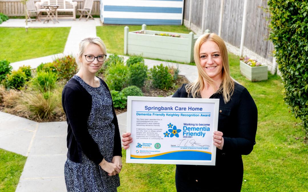 Springbank Care Home Receive Dementia Recognition Award